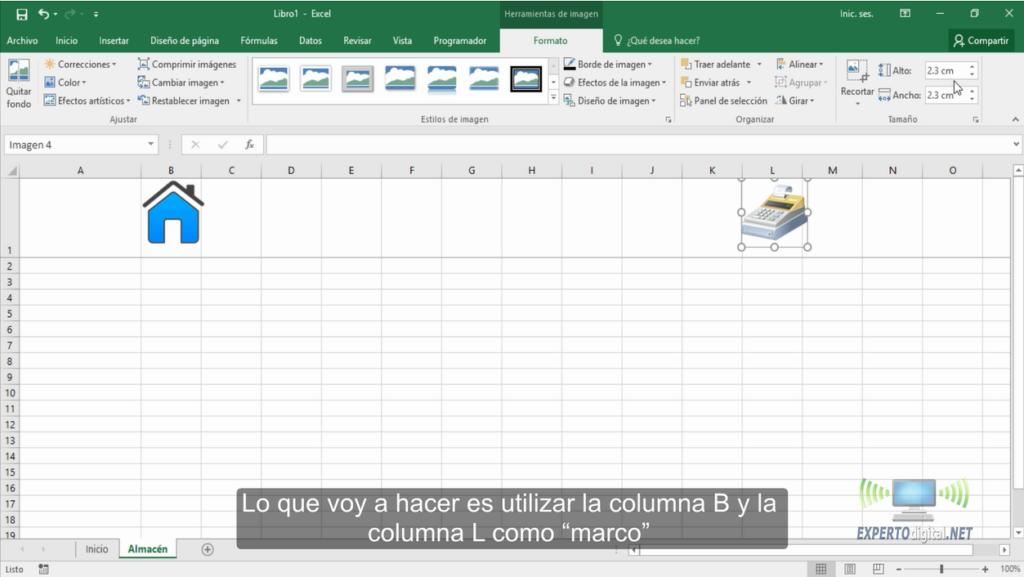Distribuir imagenes en Excel