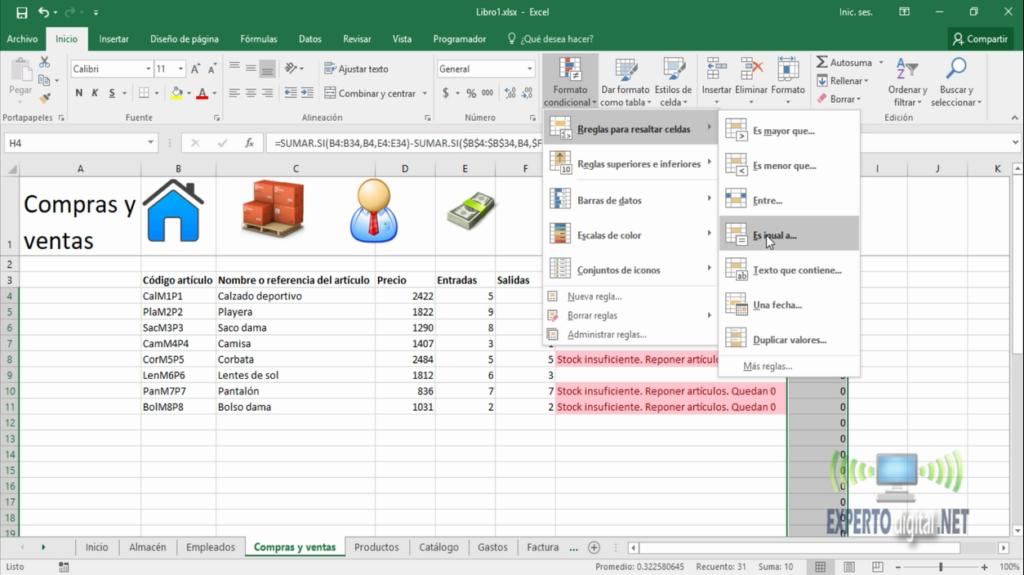 Ejemplo de formato condicional en Excel