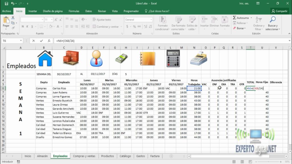 Formulas complejas en Excel
