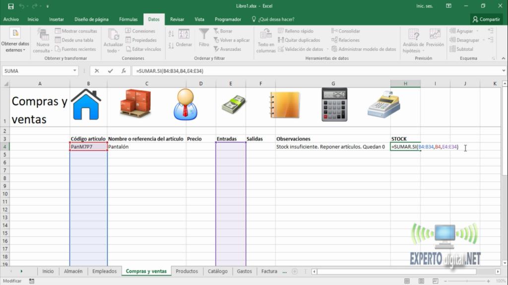 Funcion SUMAR.SI en Excel