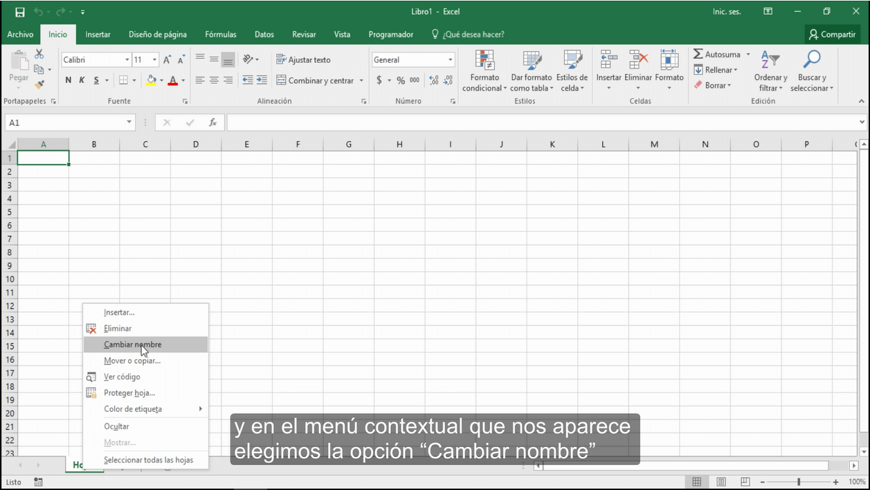 Cambiar el nombre de una hoja de Excel