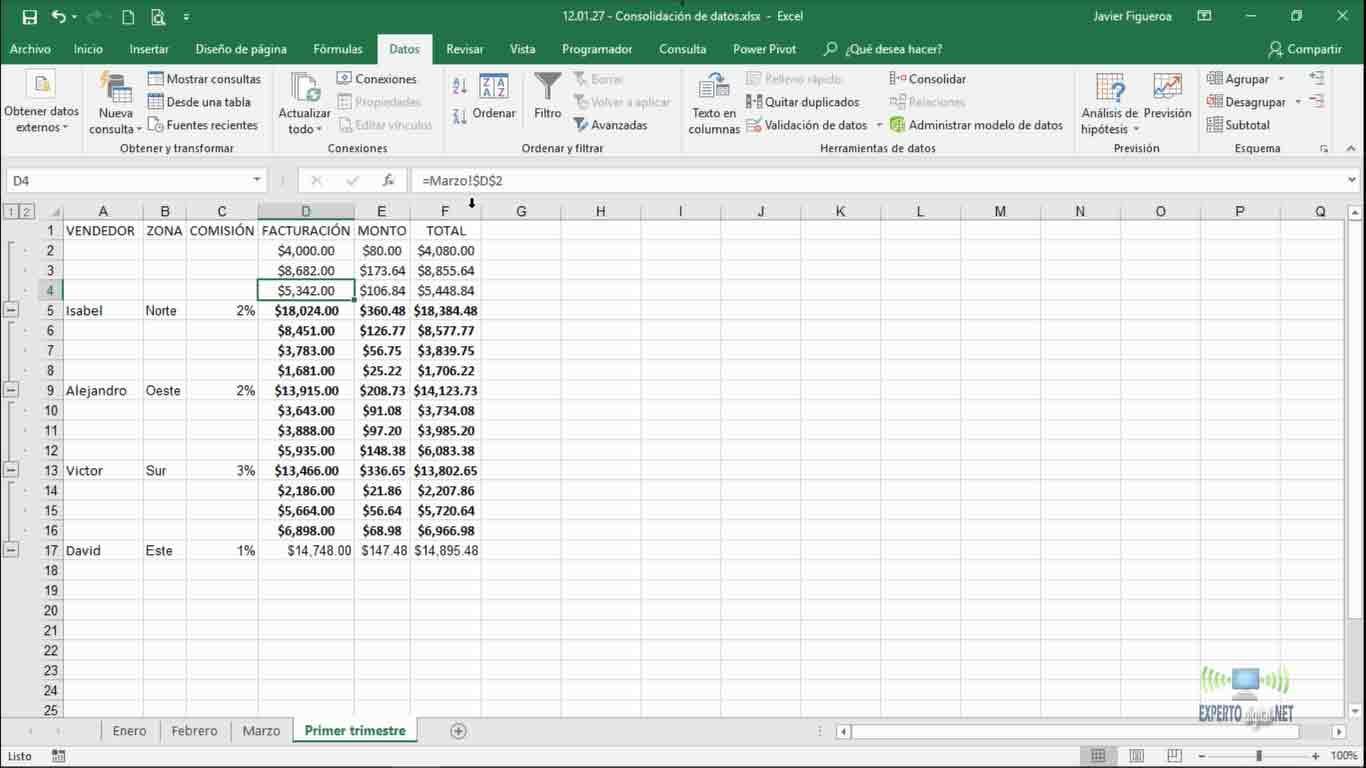 consolidar datos en varias hojas de cálculo